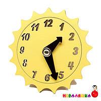 Заготовка для Бизиборда Желтые Часы Солнышко Солнце со Стрелками Дерев'яний годинник для бізіборда, фото 1
