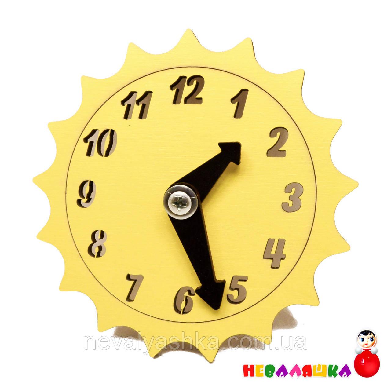 Заготовка для Бизиборда Желтые Часы Солнышко Солнце со Стрелками Дерев'яний годинник для бізіборда
