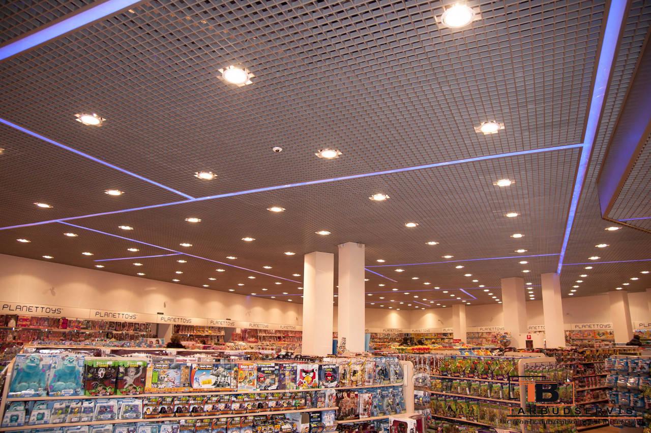 Монтаж светильников  в потолок грильято - GROUP-TB.COM.UA в Киеве