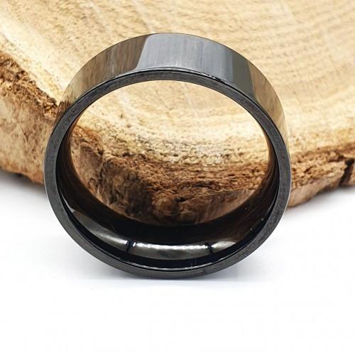 Черное кольцо из медицинской стали американка 8 мм под гравировку 176315