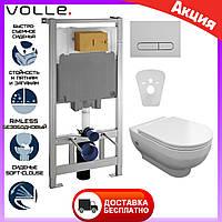 Безободковый унитаз подвесной Volle Rimless с сиденьем + инсталляция Volle Master 141515