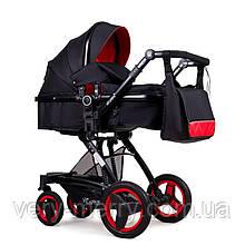 Универсальная коляска-трансформер Ninos Bono 2 в 1 (черный/красный цвет)