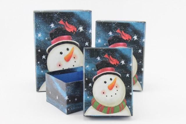 Подарочная коробка новогодняя Снеговик новогодняя ночь