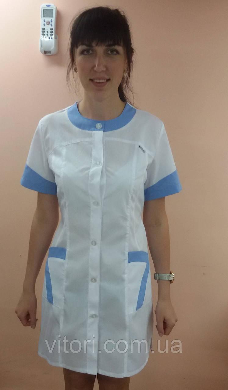 Медицинский женский халат Фантазия хлопок короткий рукав