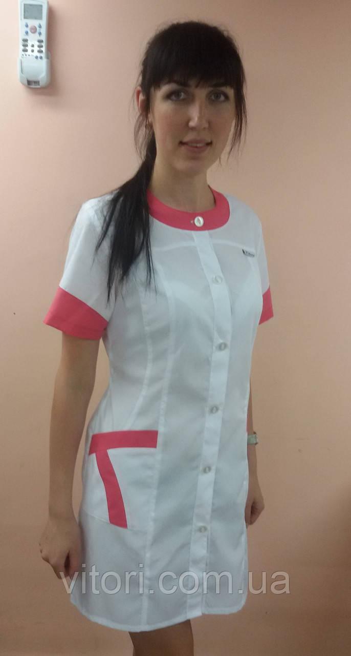 Медичний жіночий халат Фантазія бавовна короткий рукав