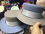 Фетровая шляпа канотье с прямыми полями 7см цвет черный, фото 5