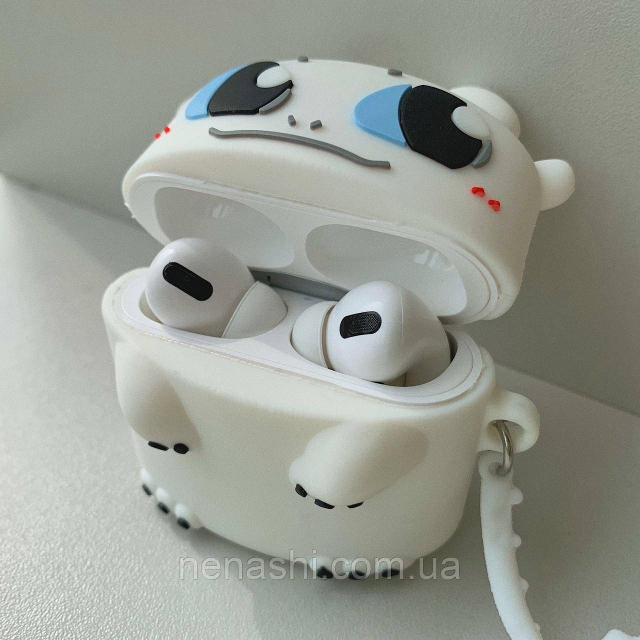 Чохол силіконовий для бездротових навушників Apple AirPods Pro Біла фурія, Білий