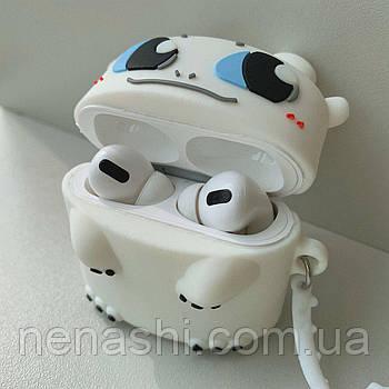 Чехол силиконовый для беспроводных наушников Apple AirPods Pro Белая фурия, Белый