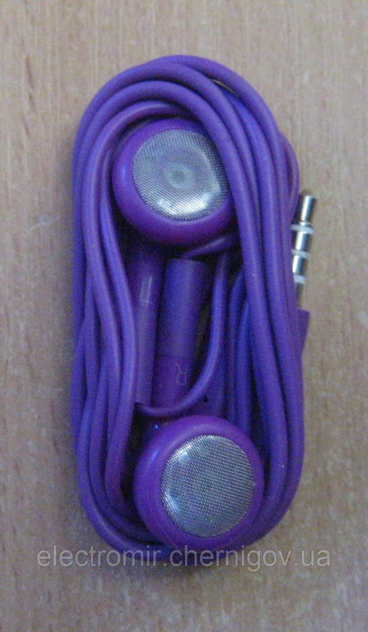 Вставні навушники з мікрофоном фіолетові (техпак)