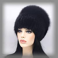 """Меховая шапка из ондатры и песца """"Бант большой"""" (чёрная)"""