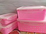 Набор пластиковых контейнеров для продуктов 4 шт (0.6 л., 1 л., 1,6 л., 2.5 л.), фото 2