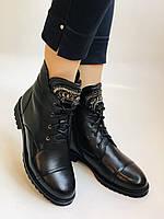 Зимові черевики на натуральному хутрі на низькій підошві з натуральної шкіри. Stalo Totti Р. 36, 38, фото 5