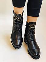 Зимові черевики на натуральному хутрі на низькій підошві з натуральної шкіри. Stalo Totti Р. 36, 38, фото 4