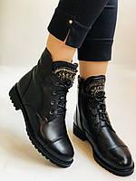 Зимние ботинки на натуральном меху на низкой подошве из натуральной кожи. Stalo Totti Р.36, 37,38,