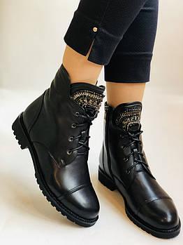 Зимние ботинки на натуральном меху на низкой подошве из натуральной кожи. Stalo Totti  Р.36, 38