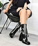 Черные лаковые ботильоны с квадратным носком демисезонные женские, фото 2