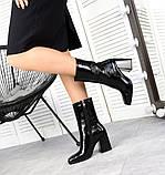 Черные лаковые ботильоны с квадратным носком демисезонные женские, фото 3