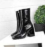 Черные лаковые ботильоны с квадратным носком демисезонные женские, фото 4