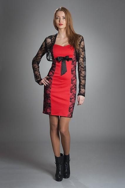 Платье женское мод № 341,размер 42-44 коралл и электрик