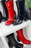 Черные лаковые ботильоны с квадратным носком демисезонные женские, фото 6