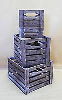 Ящики декоративные КЯ-7 КОРИЧНЕВО-БЕЛЫЙ (3 ящика, квадратные)