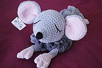 Мягкая вязаная  игрушка ручной работы пижамница мышка ручной работы 61*18 см, фото 1