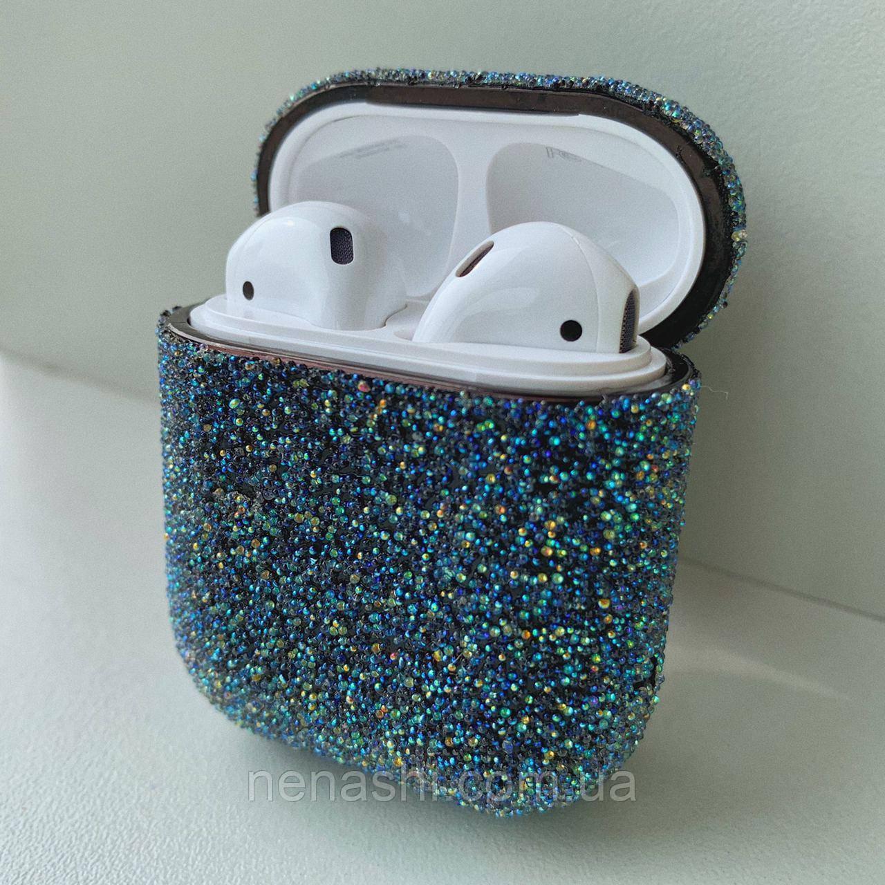 Чохол з блискітками для бездротових навушників Apple AirPods з карабіном Темно-синій