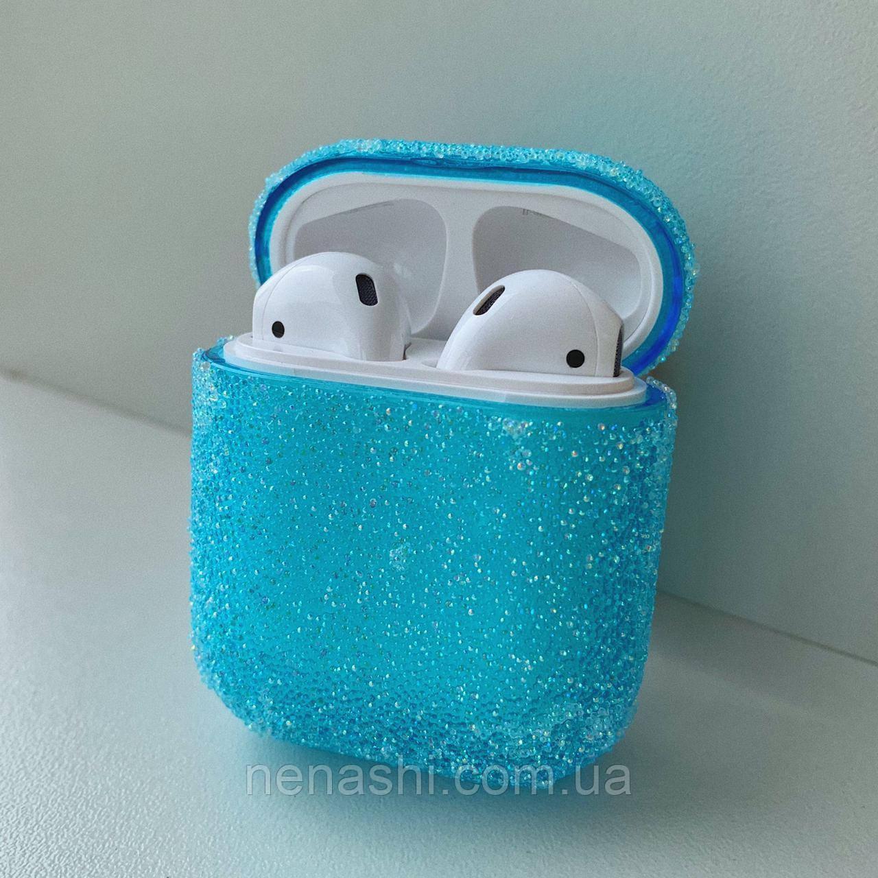 Чохол з блискітками для бездротових навушників Apple AirPods з карабіном Блакитний