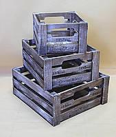 Ящики декоративные КЯ-8  КОРИЧНЕВО-БЕЛЫЙ (3 ящика, квадратные), фото 1
