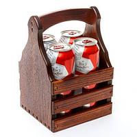 Ящик для 4 банок пива 0,33л. 17*16*26 см. BST PPK-03 венге без открывалки