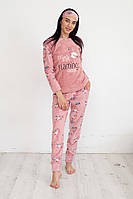 "Пижама женская флис + махра ""Фламинго"" цвет пудра"