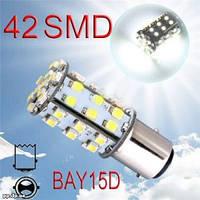 LED лампочка белая стоп 2 спирали BAY15D АВТО 42