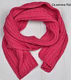 Вязаный шарф зимний полушерсть, Розовый, фото 2