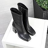 Зимние ботильоны кожа с квадратным носком черные, фото 4