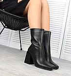 Зимние ботильоны кожа с квадратным носком черные, фото 5