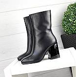Зимние ботильоны кожа с квадратным носком черные, фото 3