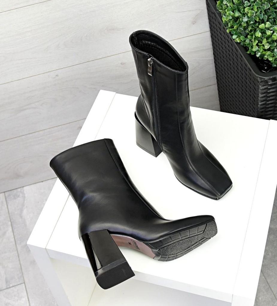 Зимние ботильоны кожа с квадратным носком черные