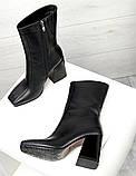 Зимние ботильоны кожа с квадратным носком черные, фото 2