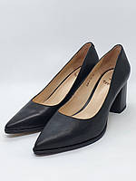 Женские туфли лодочки на каблуке черная натуральная кожа