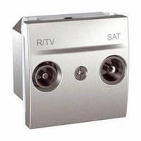 Механизм TV-R/SAT розетка одиночная, 2 модуля, Unica алюминий