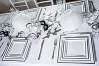 Набор посуды стеклопластик Capital For People белый с серебром 96 предметов (DD-36)