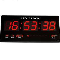 Настенные Led часы с подсветкой 3615 red, Электронные часы, будильник, календарь! Скидка