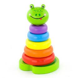 """Детская деревянная игрушка пирамидка Viga Toys """"Лягушка"""""""