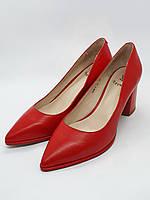 Женские туфли лодочки на каблуке красная натуральная кожа