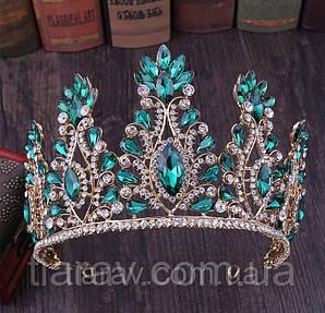 Тіара висока корона з смарагдовими камінням, діадема, весільна діадема