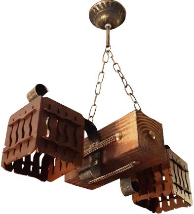 Люстра из дерева на цепи на 2 плафона из дерева 163812