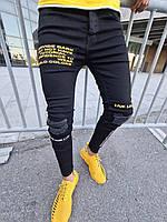 Демисезонные мужские зауженные джинсы MN Jeans черные с надписями