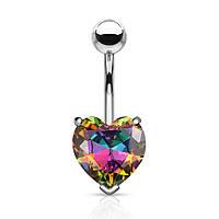Серьга для пирсинга пупка в виде крупного сердца с позолотой Spikes «Алмазная»