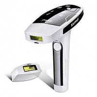 Портативный лазерный эпилятор / фотоэпилятор Kemei KM 6812 для лица и тела Белый с черным (258599)