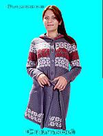 Женский вязаный кардиган с Украинским орнаментом . Вышиванка  стальной